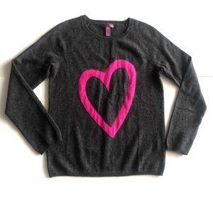 NWOT AQUA Cashmere Heart Graphic Sweater
